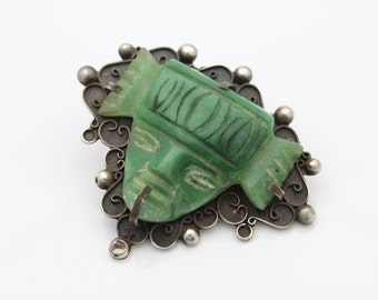 Vintage Sterling Silver and Carved Green Quartzite Tribal Mask Brooch. [5678]