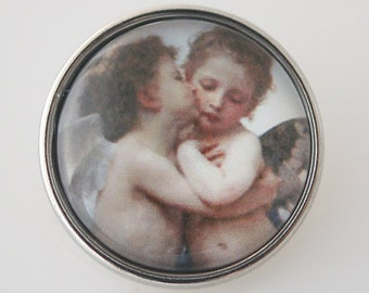 KB4342 ~ Art Glass Print Chunk ~ Cherubs