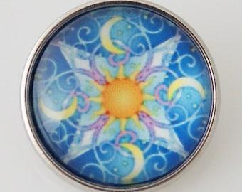 KB2860-N Art Glass Print Chunk - Star and Moon