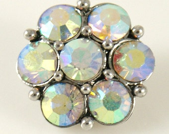 Back in Stock ~ KB2190 Large Rainbow Crystal Snap Set in Silver
