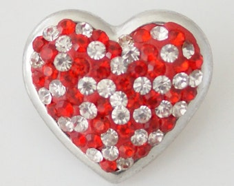 KB4264 Sparkling Red and Clear Crystal Heart Set in Silver