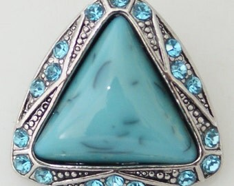 KB6554 Turquoise Triangle Set in Antiqued Silver Surrounded by Turquoise Crystals