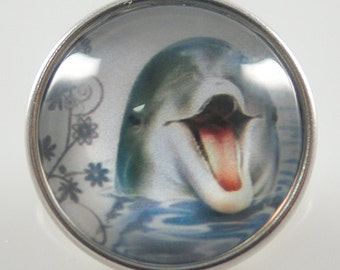 KB2722-N Art Glass Print Chunk - Dolphin