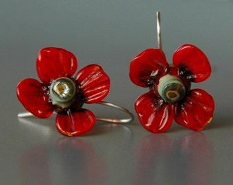 Poppy flower lampwork earrings /925 silver / flower / Poppies / Summer