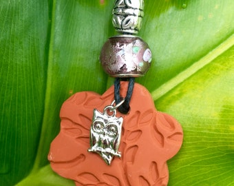 Owl Charm Terra Cotta Pendant Necklace (Includes Essential Oil of Your Choice)