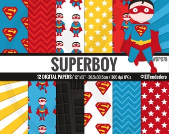 Superman inspired digital paper pack, with superboy comic backgrounds to use in scrapbook, card making...