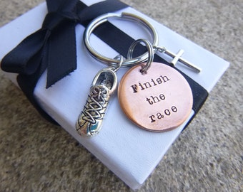 Runner Keychain, Marathon Key Chain, Finish The Race Hand Stamped Keychain, Hebrews 12, 2Tim 4:7, I Love to Run, 26.2, 13.1, marathon gift