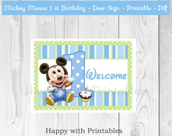 Mickey Mouse 1st bday Door Sign - Baby Mickey Mouse Door Sign - Welcome Door Sign - Mickey Mouse party - Mickey Mouse 1st birthday - Mickey