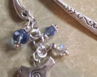 Blue Bird Bookmark — Great Gift! Sparkle