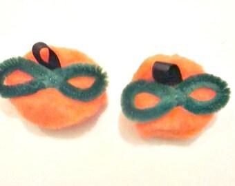 Pumpkin Hair Clips , Pumpkin Pigtail Bows , Pom Pom Pumpkins , Fall Hair Bows , Halloween Hair Bows , Pumpkin Hair Bows