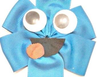 Cookie Monster Hair Bow , Sesame Street Hair Bow , Cookie Monster Hair Clip , Cookie Monster Headband , Sesame Street Birthday
