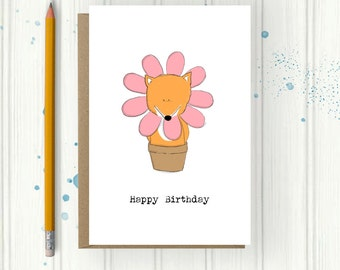 fox card, flower card, quirky design, Birthday Card, woodland animal, flower Illustration, Cute Birthday Card, Fox Illustration, Hand drawn