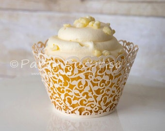 Ivory Cupcake Wrappers Lace Filigree Vine Cupcake Wedding Birthday Bat Mitzvah Dessert Table Candy Buffet