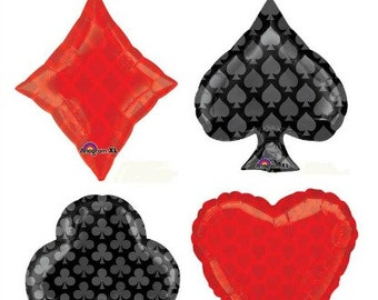 Casino Party Card Balloons Hearts Club Spade Diamond Red Black Balloons Poker Party Casino night balloons straws decor