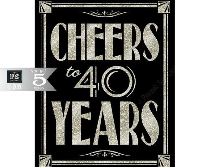 Printable 40th birthday sign - Art Deco - Great Gatsby - 1920's theme - digital file - DIY - black and glitter silver