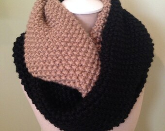 Black and Camel Infinity Scarf