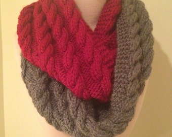 Infinity scarf Cable Knit Cherry Red and Gray