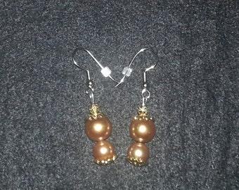 Gold glass Beads Earring Set