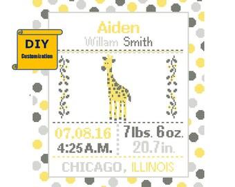 Giraffe Birth sampler Cross Stitch Birth Announcement Cross Stitch Birth Record Polka Dot Baby Boy Girl Giraffe DIY customizable Pattern