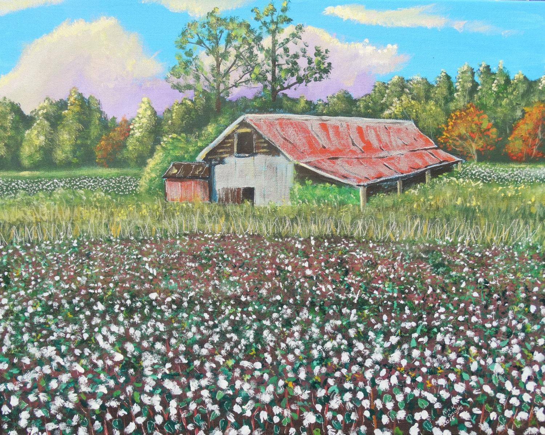 Carolina Cotton Field original acrylic painting Cotton field