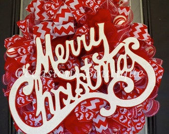 Christmas Wreath, Red and White Christmas Wreath, Christmas Decoration, Holiday Wreaths, Deco Mesh Wreath, Front Door Wreaths,