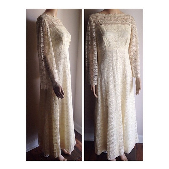 Half price sale 1970s dream lace mexican style cream for 1970s wedding dresses for sale