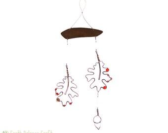 Hanging Mobile, Botanical Oak Leaf, Baby Mobile, Whimsical, Garden Wire Art, Acorn, Metal Mobile, Leaf Suncatcher, Copper Decor, Nursery