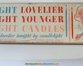 LIGHT CANDLES Lovelier Younger Metal Sign Display Will & Baumer Candlelight Wax Tavern Syracuse N.Y. Montreal + More Antique Bottle Listings