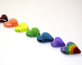 Rainbow Energy Healing Glass Hearts