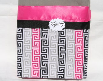 Pink, Grey and  Black Greek Key Pattern flannel baby blanket