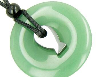 Double Lucky Fortune Fish Hematite and Quartz-Green Quartz Pendant Necklace