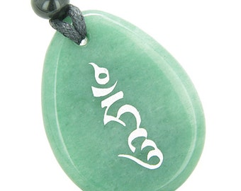 HUNG Seal Wheel of Blessing Amulet Green Quartz Pendant Necklace