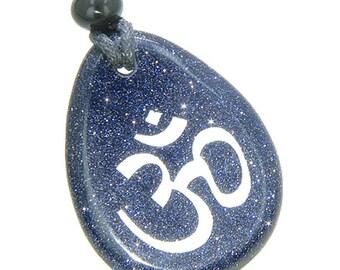 Lucky Om Symbol Wish Stone Blue Goldstone Gemstone Pendant Necklace