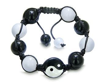 Amulet Yin Yang Black Agate White Quartz Gemstones Positive Lucky Charm Bracelet