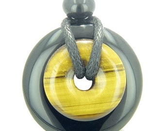 Amulet Magic Donuts Black Agate Tiger Eye Spiritual Protection Powers Pendant Necklace