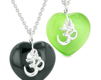 Ancient OM Amulets Love Couples Best Friends Hearts Black Agate Neon Green Simulated Cats Eye Necklaces