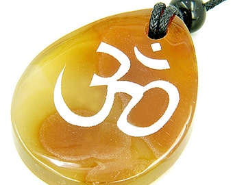 Lucky Om Symbol Wish Stone Natural Agate Gemstone Pendant Necklace