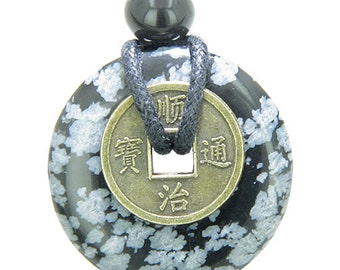Lucky Coin Evil Eye Protection Powers Amulet Snowflake Obsidian 30mm Donut Pendant Necklace
