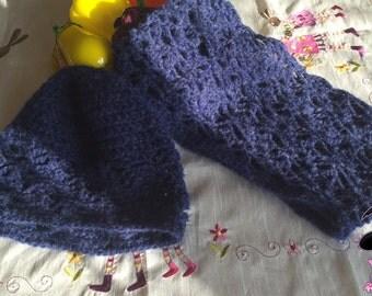 Crochet wool neck warmer and hat full baby alpaca and merino