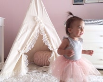 Lace Teepee Tent in Natural Canvas- Childrens teepee, play teepee, girls room, toddler gift, play tent, kids tipi tent, kids photo prop