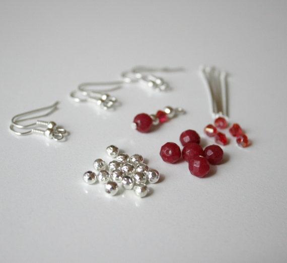 make your own gemstone and swarovski crystal earrings