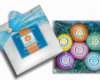 Organic Bath Bomb Gift Set -FREE SHIPPING- 6 Large 4.5 oz. Organic & Natural Bath Bombs w/Essentials Oils