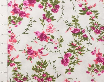 Pink Floral on White Light Weight Knit Fabric
