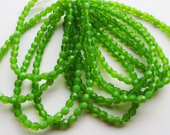 50 Czech Fire Polished Glass Beads Milky Green Opal 6mm
