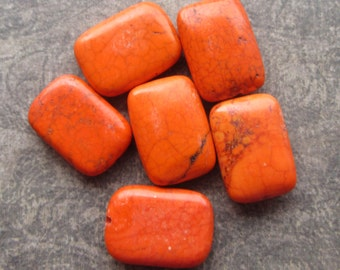 Large Bright Orange Howlite Focal Rectangle Beads 18x25mm
