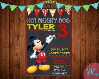 Mickey Mouse Chalk Board Hot Doggity Dog Birthday Invitation, Digital File, DIY Printing