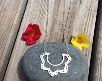 Lotus Flower Necklace, Sterling Silver
