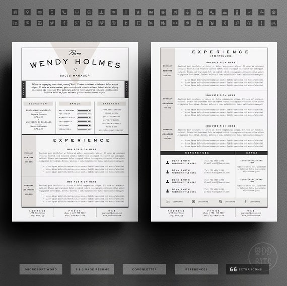 Resume Template / Cv Template Cover Letter For Word 3 Page