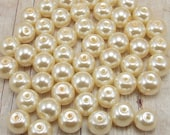 6mm Glass Pearls - Cream - Off White - Vanilla - Ecru - 75 pieces