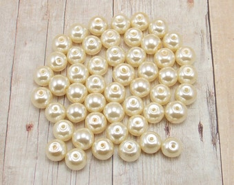 8mm Glass Pearls - Cream - Off White - Vanilla - Ecru - 50 pieces